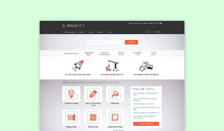 BoldGrid Support Mockup Thumbnail