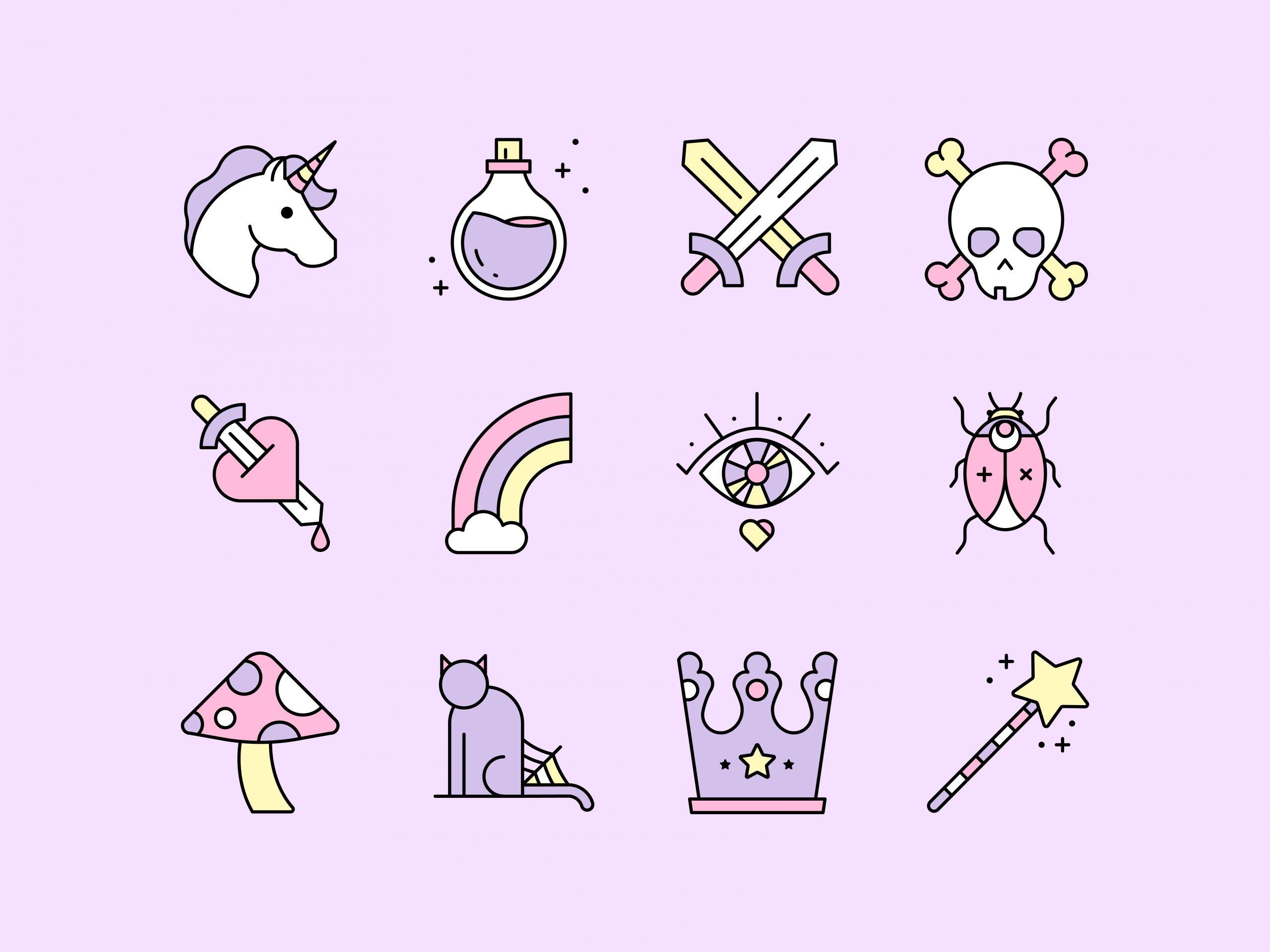 A set of magic and fantasy icons